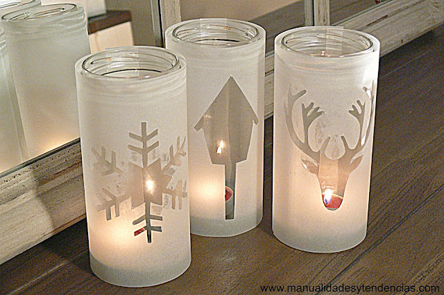 Reciclaje: portavelas navideños / Recycled Christmas candle holder