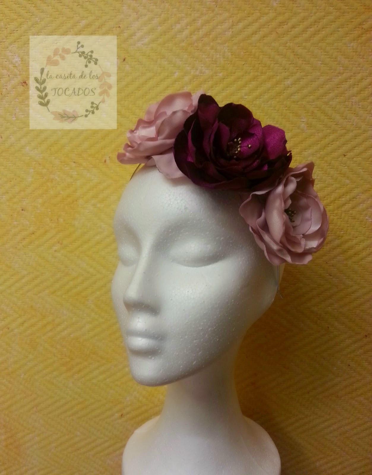 diadema para boda de flores de raso artesanales a buen precio