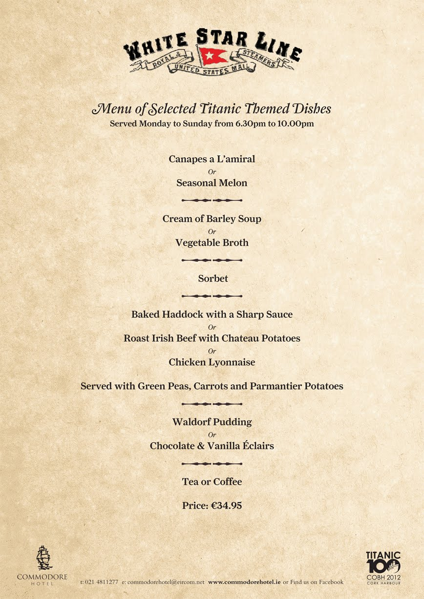 The Commodore Hotel Titanic Menus