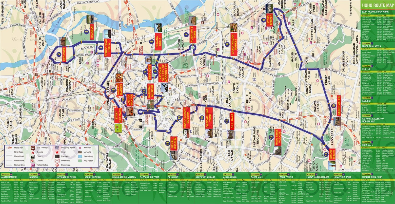 HOHO Old Route Map - 100 + nearby places List