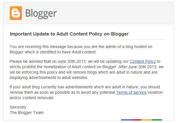 30 juni 2013 blog dengan conten porno akan dihapus