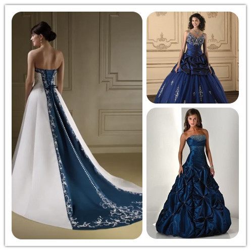 Wedding dresses in navy blue high cut wedding dresses for Navy dresses for weddings