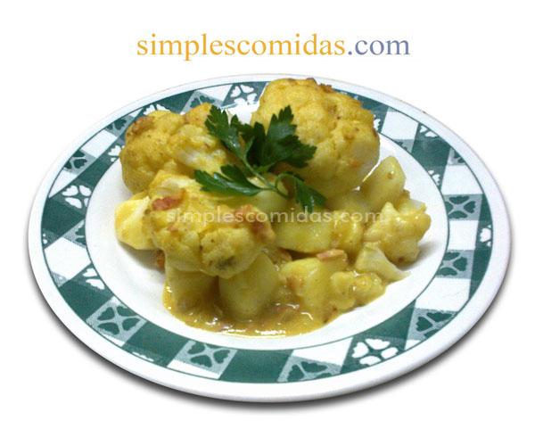 Gratinado de Coliflor y Papas al Curry