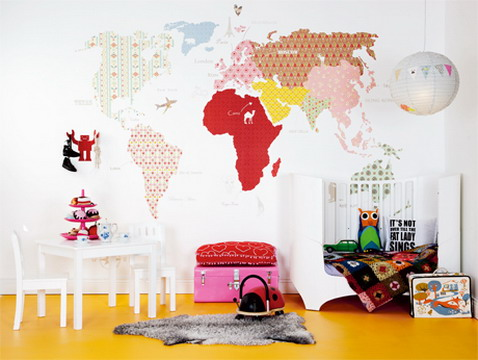 Mad for mid century vintage wallpaper world map for travel nursery the set up photos look more like modern nurseries than mid century nurseries so i think its vintage looking wallpaper and not authentically old gumiabroncs Gallery