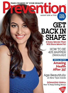 Sonakshi Sinha in Sleeveless Tights Pics for Prevention Magazine August 2015 Edition