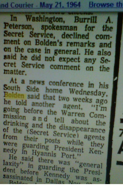 """The News & Courier"" 5/21/64: INSPECTOR BURRILL PETERSON, DENIES OTHER REPORTS!"