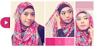 Cara Memakai Jilbab Praktis Dengan PAshmina Sifon