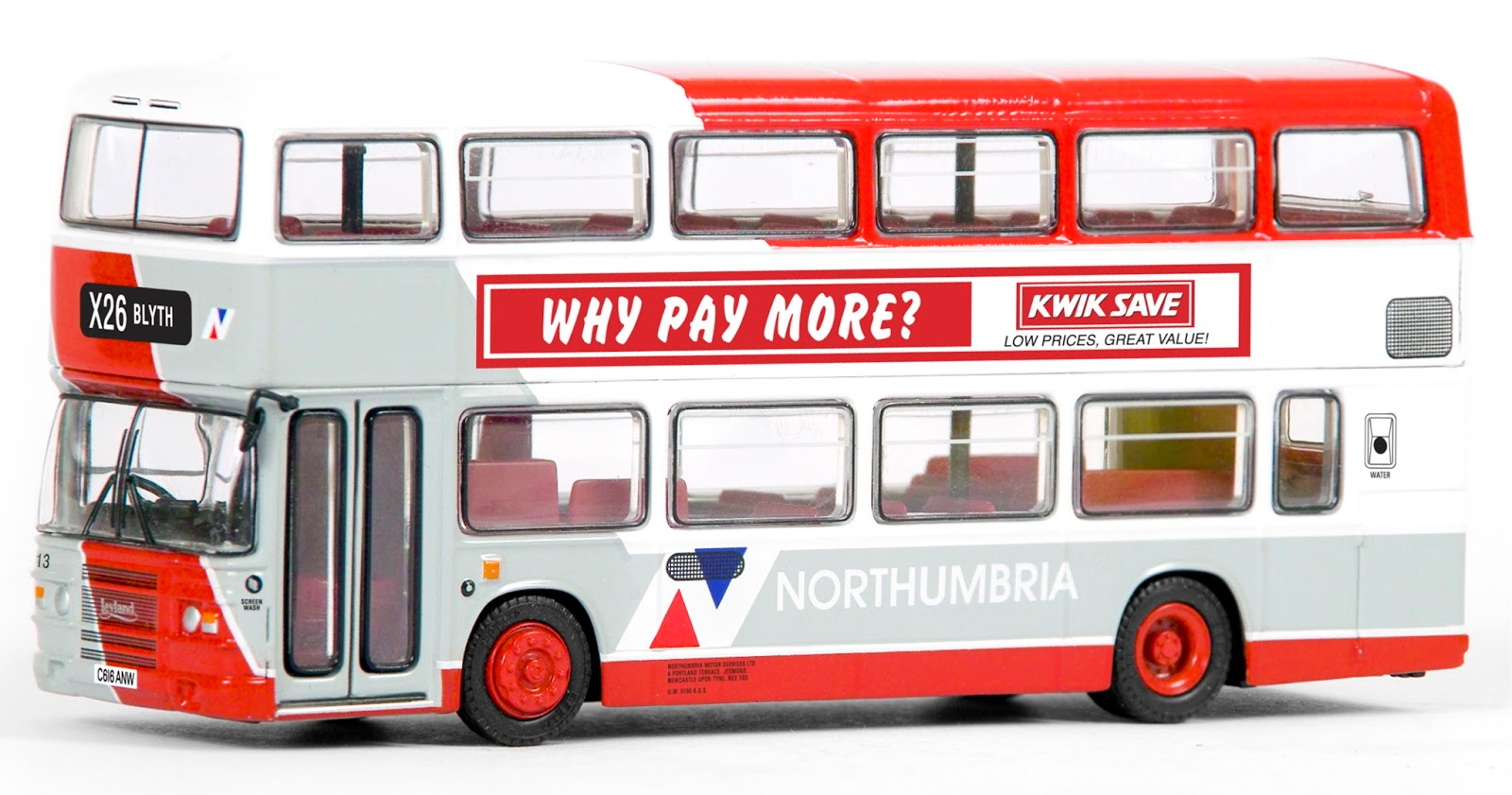EFE 29632 - Leyland Olympian  - Northumbria This very distinctive livery makes a welcome return on our Leyland Olympian as buses from the North East are proving very collectable. Registered C616 ANW, fleet number 313 operates route X 26 to Blyth. RRP £32.50
