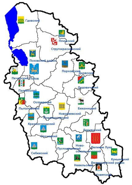 Библиотеки на карте Псковской области