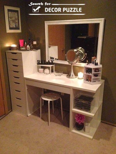 Marvelous White Modern Dressing Table Designs With Wooden Shelves And Drawers