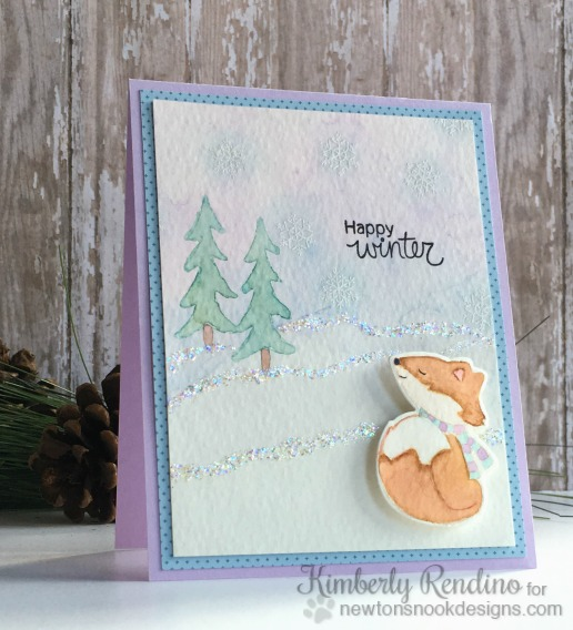Happy Winter Fox Watercolor Card by Kimberly Rendino | Fox Hollow stamp set & die set by Newton's Nook Designs #newtonsnook #fox