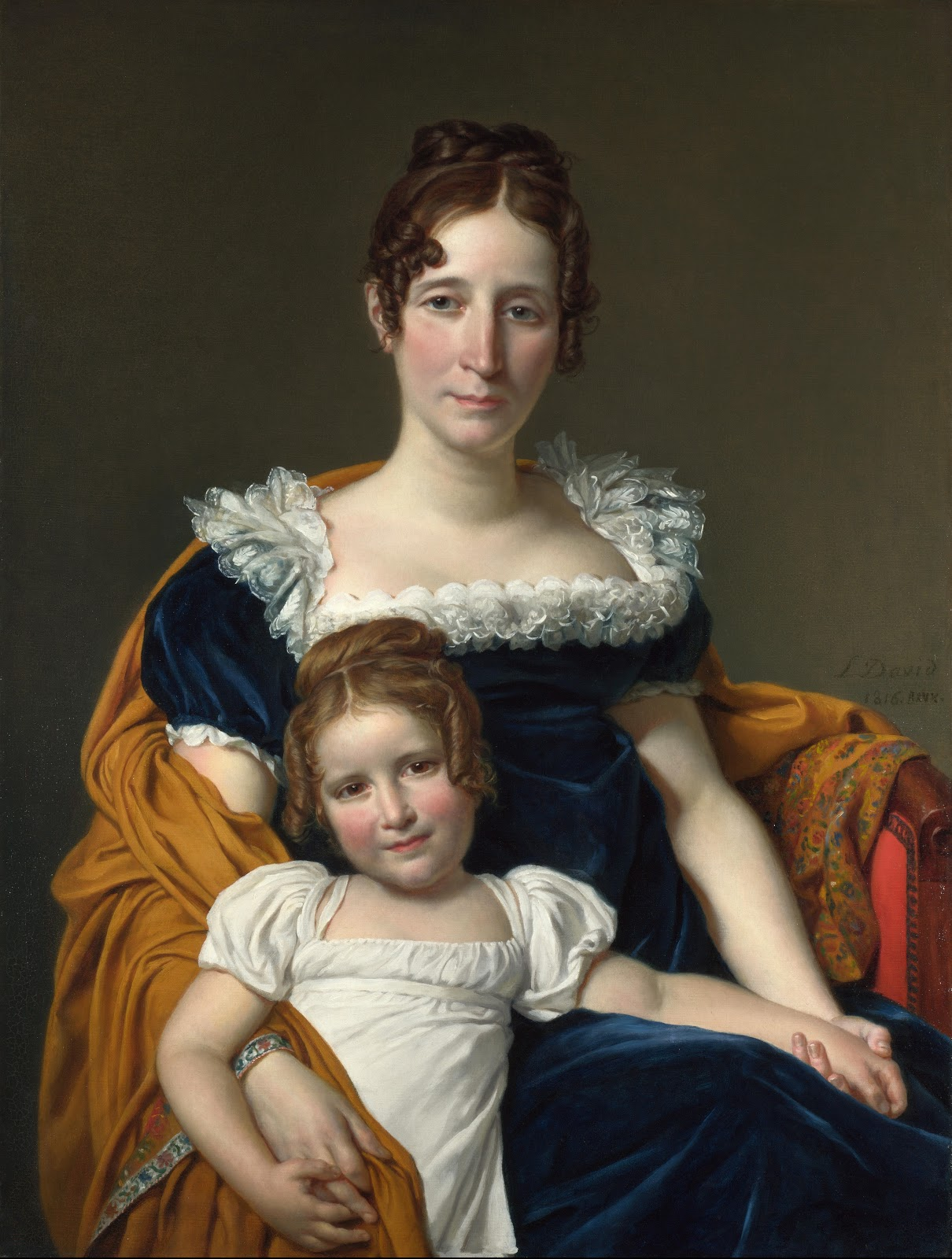 Portrait of the Vicomtesse Vilain XIIII wearing a Kashmir Shawl and her daughter. 1816.