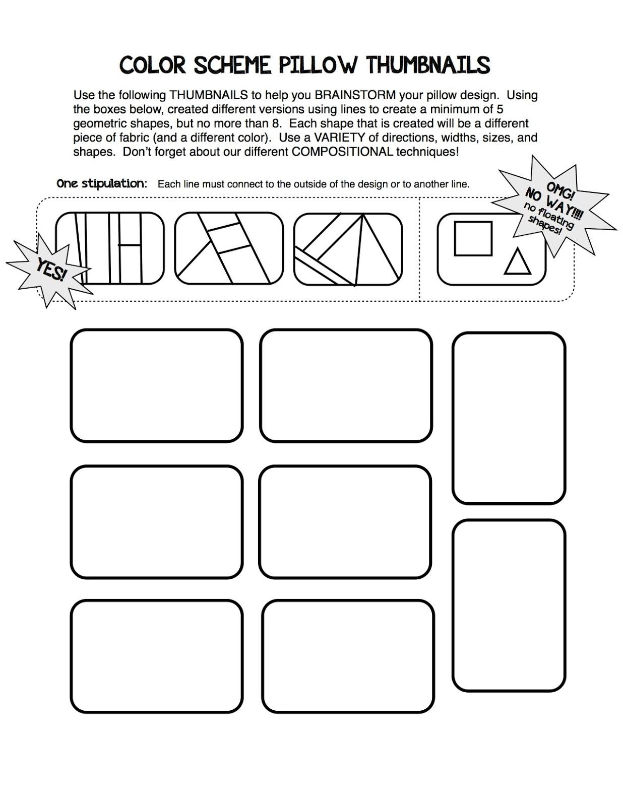 Line Art Lesson Plans : Project art a day lesson color scheme texture pillows