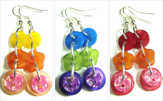 Drop dangle earrings with colorful buttons linked to make long strands