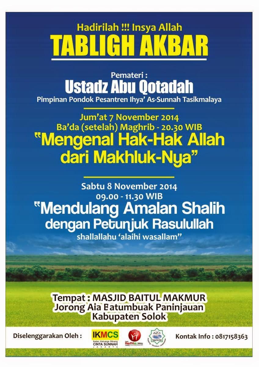 Tabligh Akbar Kabupaten Solok Ust. Abu Qatadah