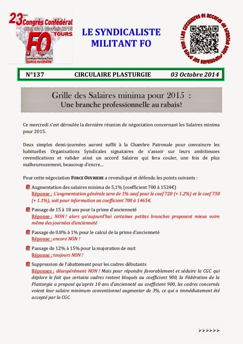 Fo atrya grille des salaires minima pour 2015 - Grille salaire educateur jeune enfance ...