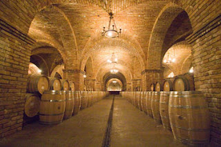 Underground wine cellar at Castello di Amorosa in Calistoga