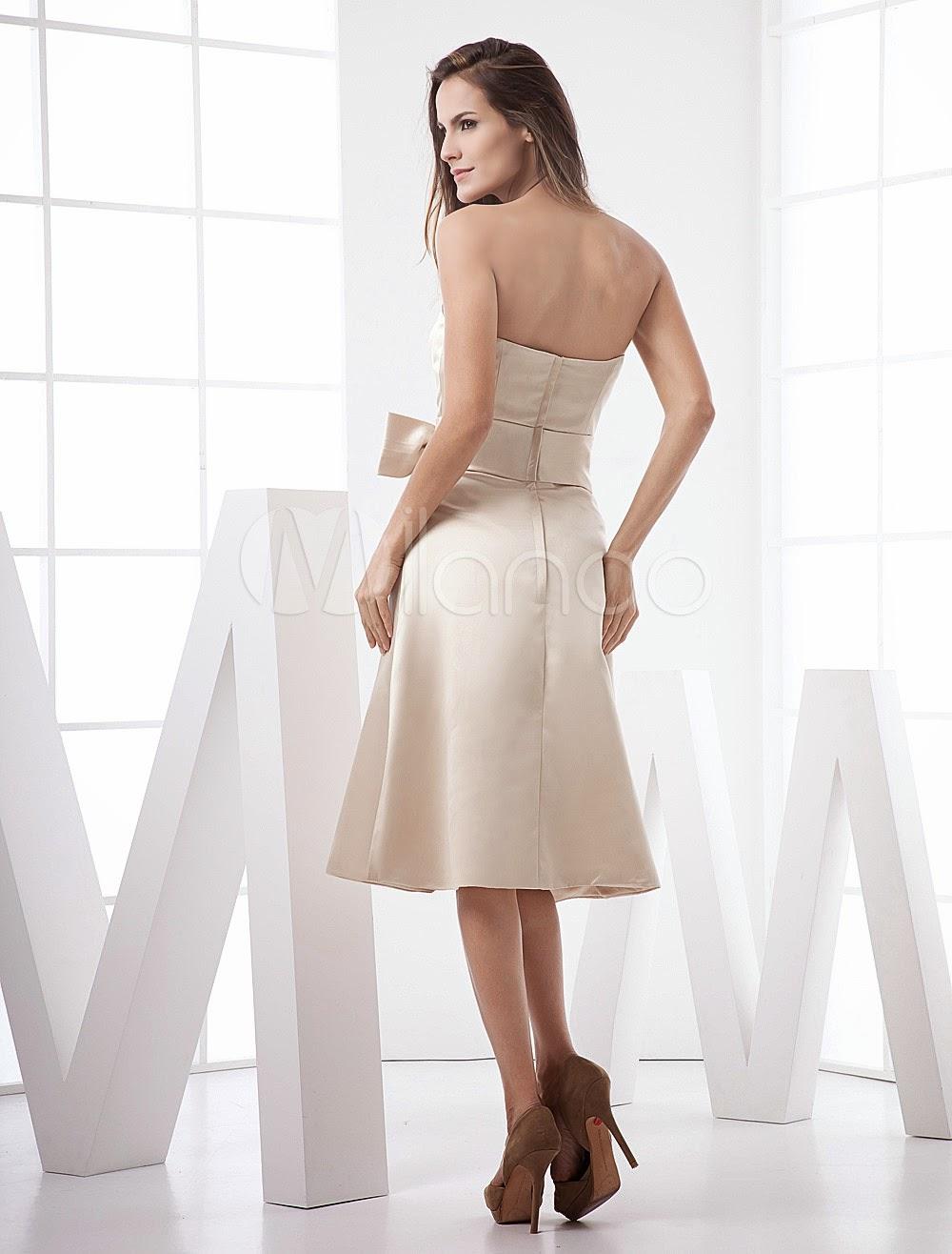 Robe soutenue demoiselle d'honneur A-ligne en satin champagne avec noeud