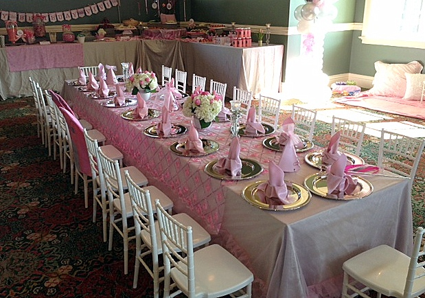 Overview of a portion of the Princess Party Buffet Table. This table covered two walls in an L shape. & Ultimate Princess Party!!! | Paint Savvy parties events and ...