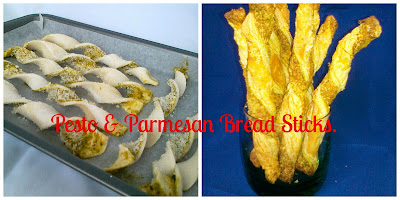 Pesto and Parmasan Bread Sticks