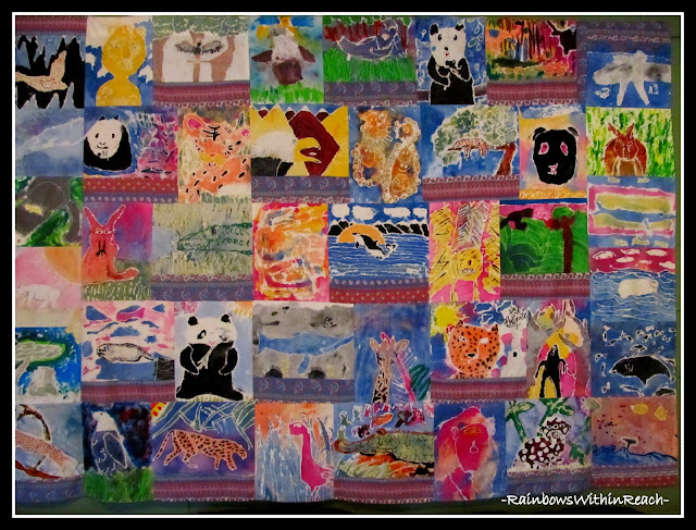 photo of: Batik Quilt of Animals from Student Art via RainbowsWithinReach Quilt RoundUP