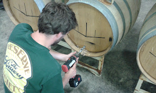 """Drilling a 15/16"""" hole into the barrel head"""