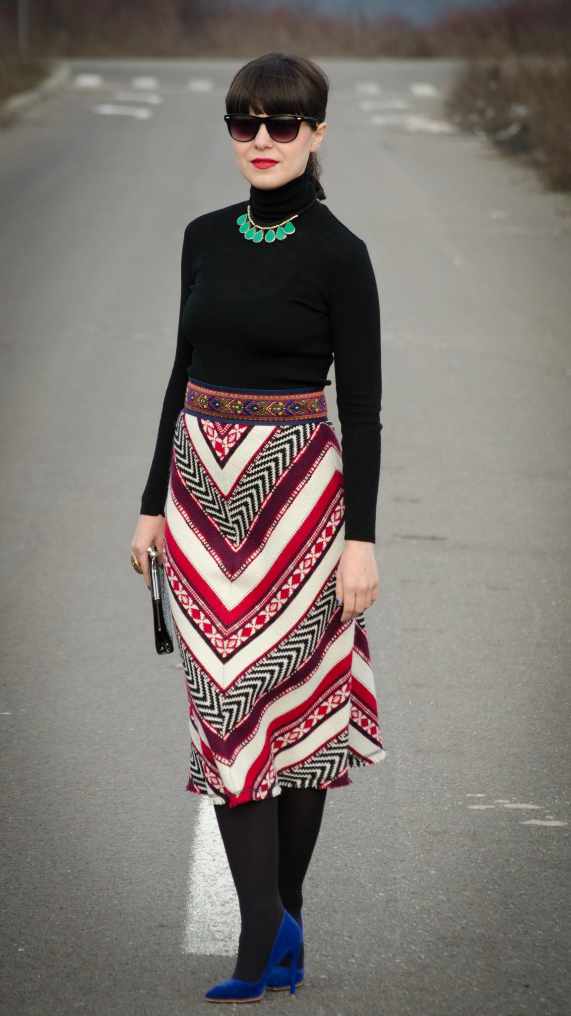 Christmas patterns skirt zara cobalt blue high heels black turtleneck red & green combo clutch statement jewelry romanian traditional waistband