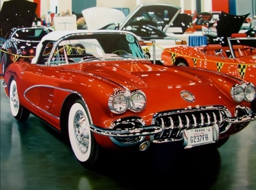 07-Corvette-Cheryl-Kelley-Chrome-Muscle-Cars-Hyper-realistic-Paintings-www-designstack-co