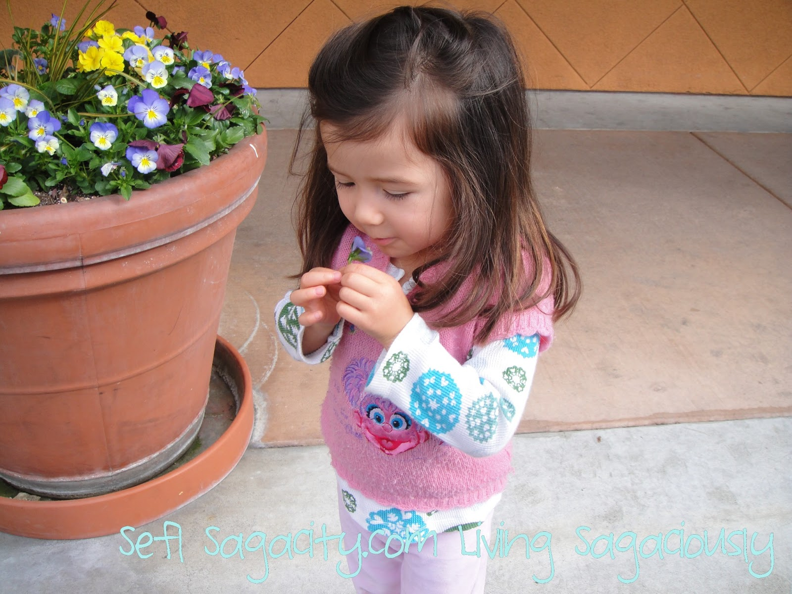 toddler girl smelling flower
