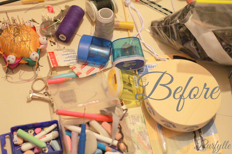 sewing table clutter