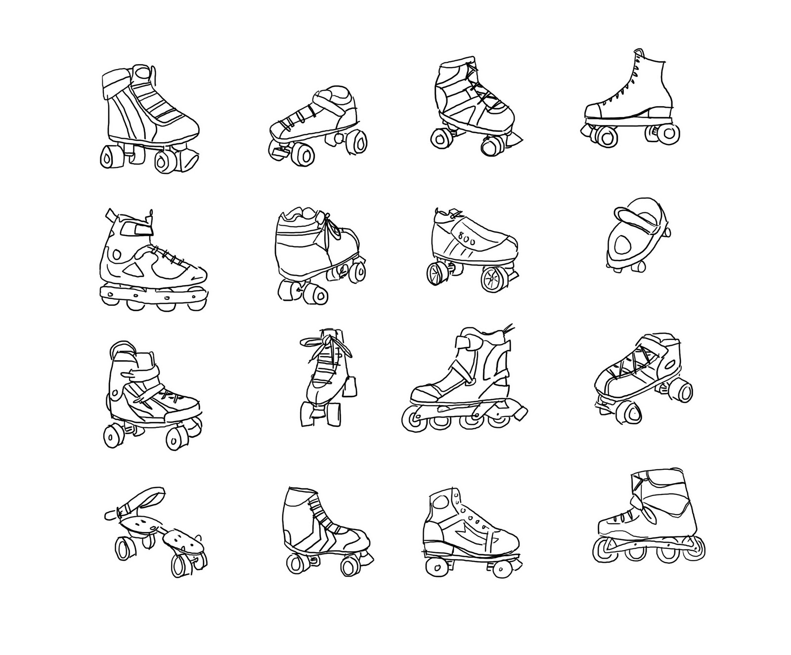 Roller Skates Drawing Coloring skates picture