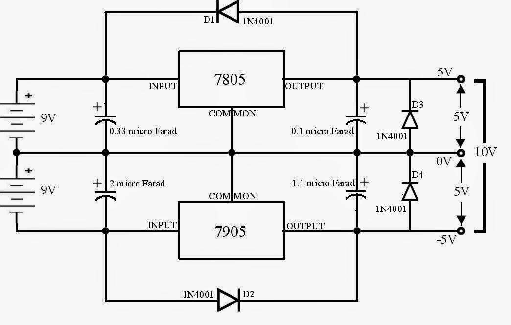 5v 0 5v Voltage Regulator Using 7805 And 7905 171 Funny