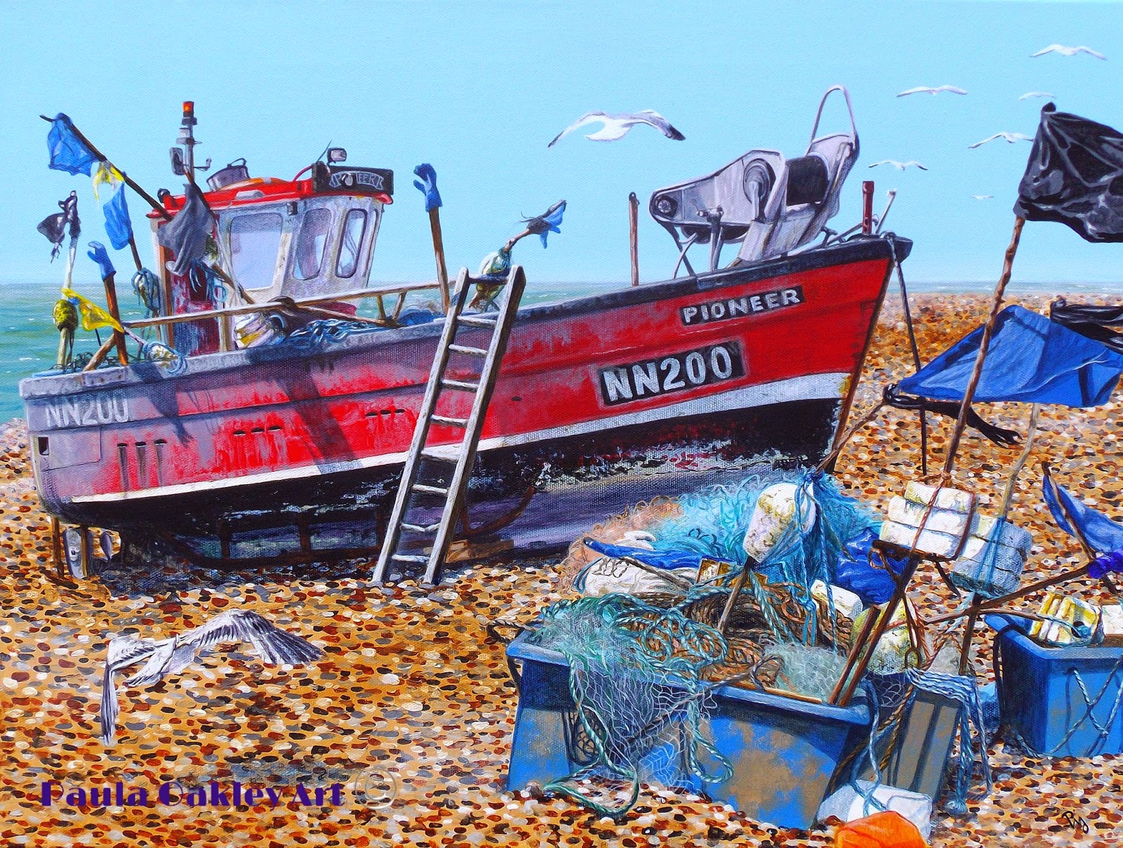 Original art by paula oakley tide out and fish tales for Fish tale boats