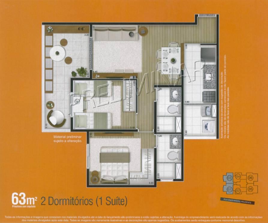 planta apartamento 2 dormitórios aclimação