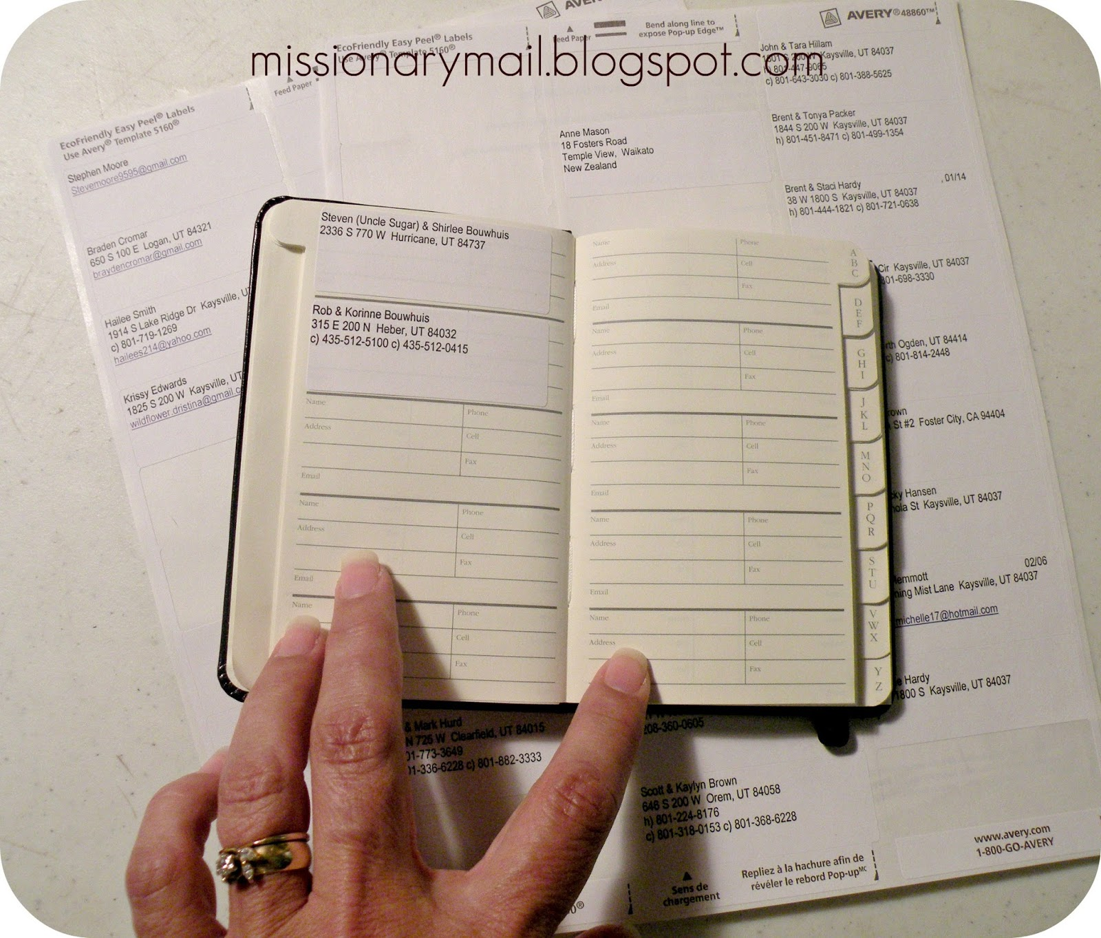 missionary mail address book