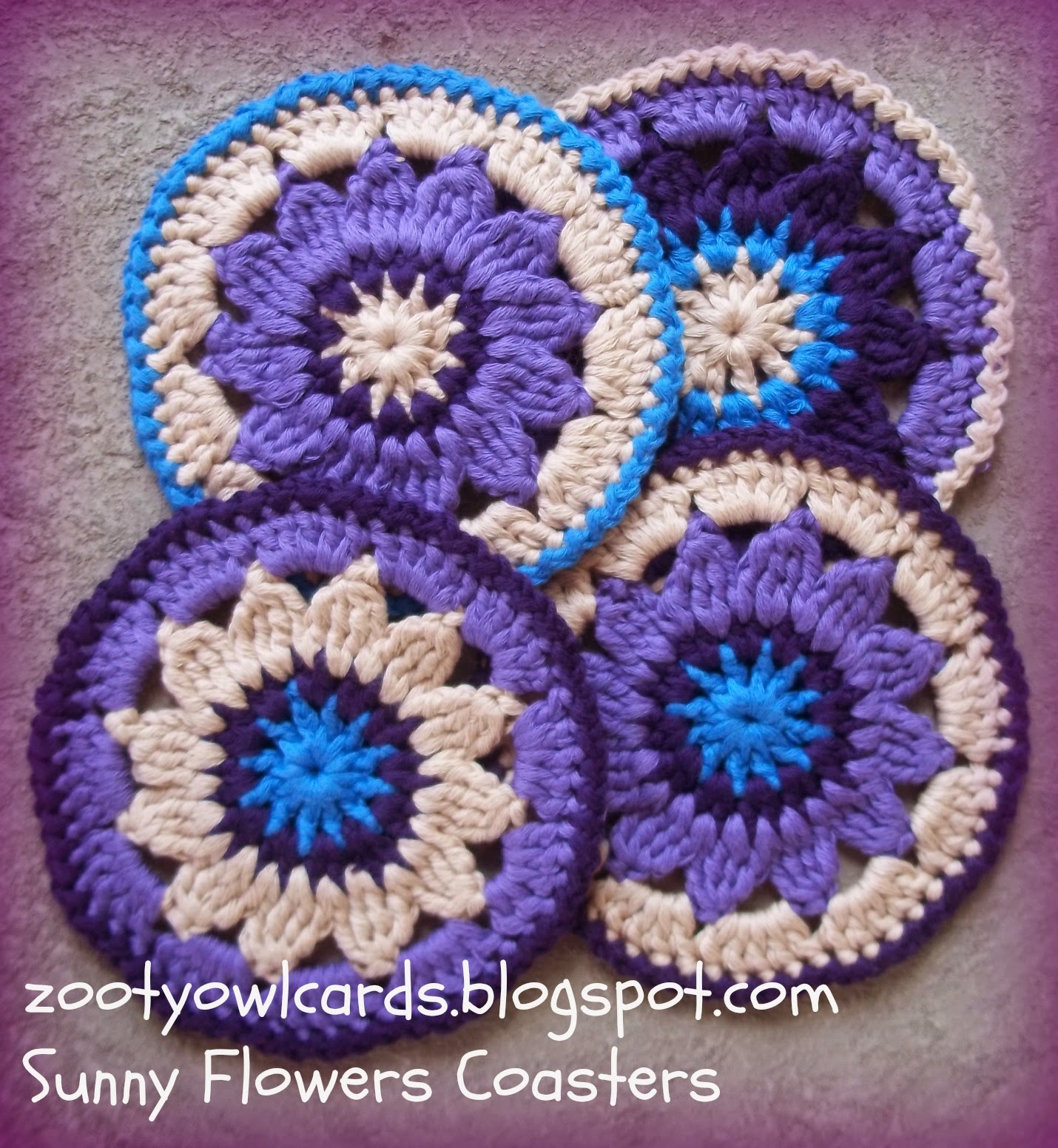 Zooty Owl\'s Crafty Blog: Sunny Flower Coasters: Pattern