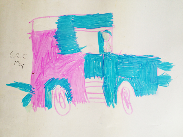 A drawing of a pink and blue Zombie Tractor by Rose aged 5.