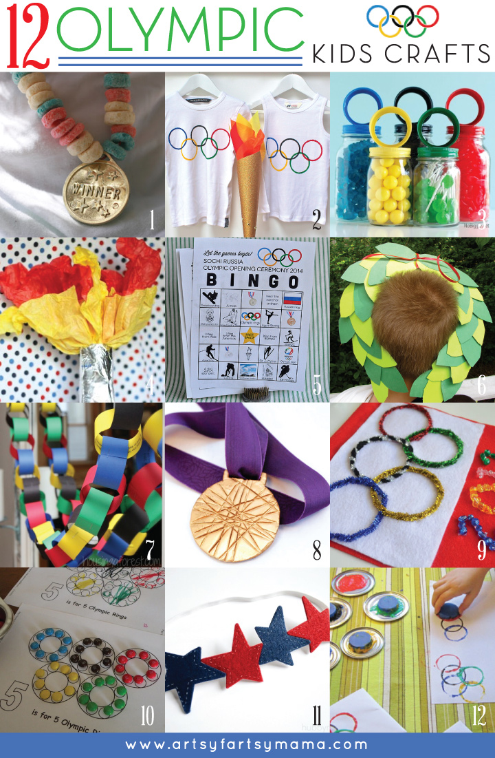 12 Olympic Kids Crafts at artsyfartsymama.com #Olympics #kidscrafts