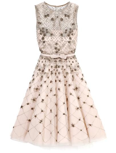 Vestido rosê com flores e tule - Valentino