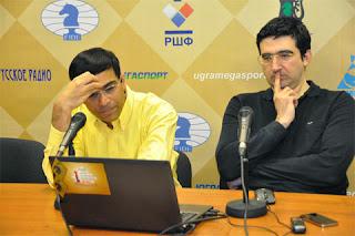 Ronde 4 : L'ex-champion du monde d'échecs Viswanathan Anand a été neutralisé par Kramnik - Photo © ChessBase