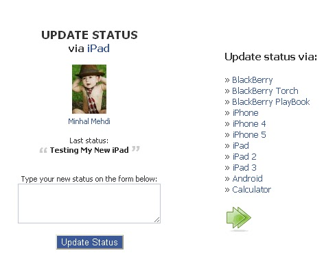 Update Your Facebook Status Via ipad/ Calculator/ BlackBerry/ iPhone