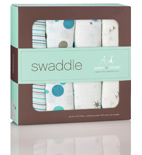 Aden & Anais Baby Swaddles - Classic Star Bright 4 -Pack. Shown in it's presentation box.