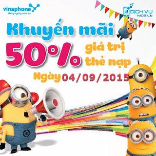 Vinaphone khuyến mãi 50% nạp card này 4/9/2015