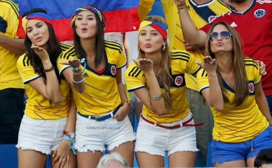 Beautiful Colombian girl watching the World Cup 2014
