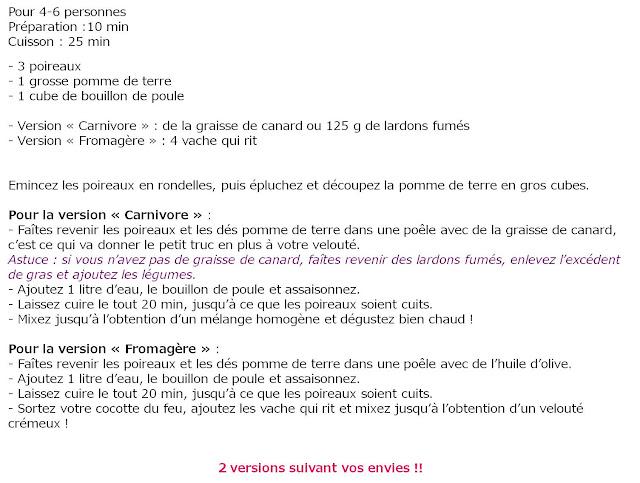 image recette Velouté poireau-pomme de terre et... à vous de choisir !