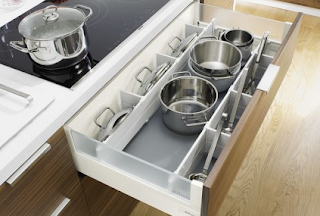 Pot Drawers with Coocking Tools