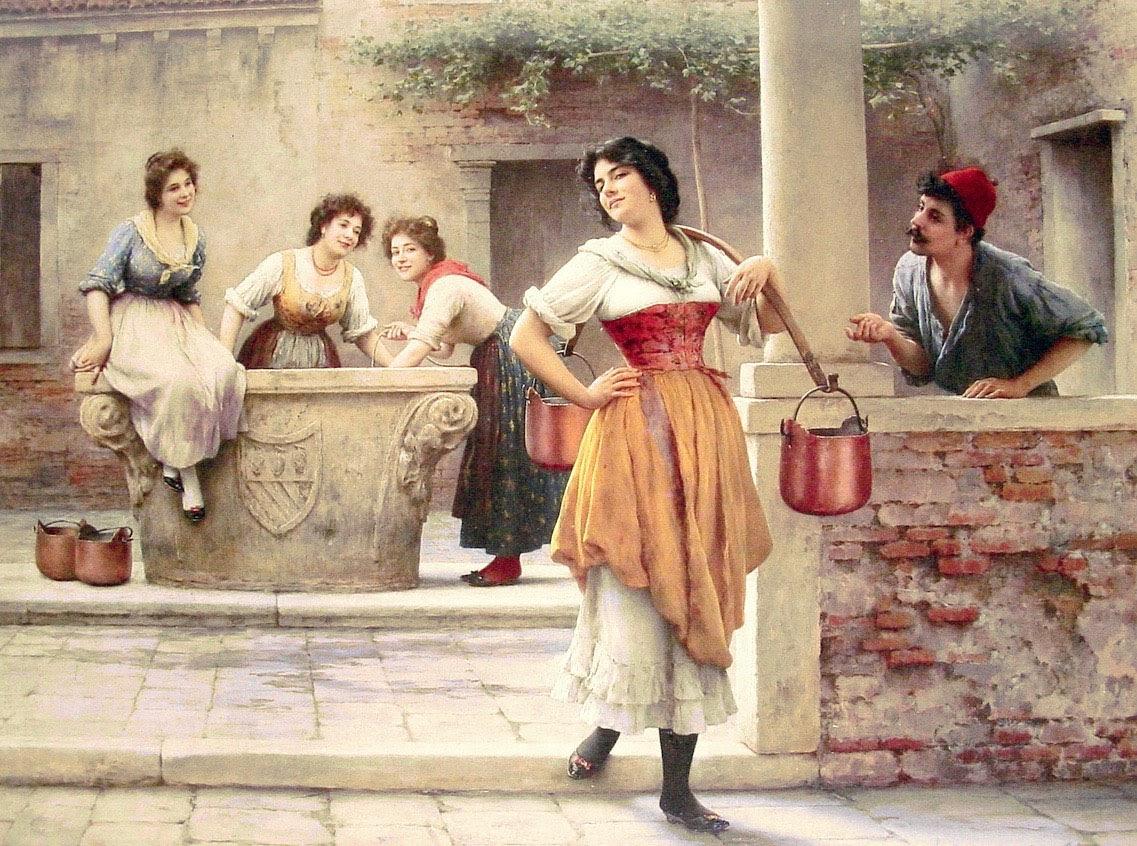 Eugene de  laas Flirtation at the Well