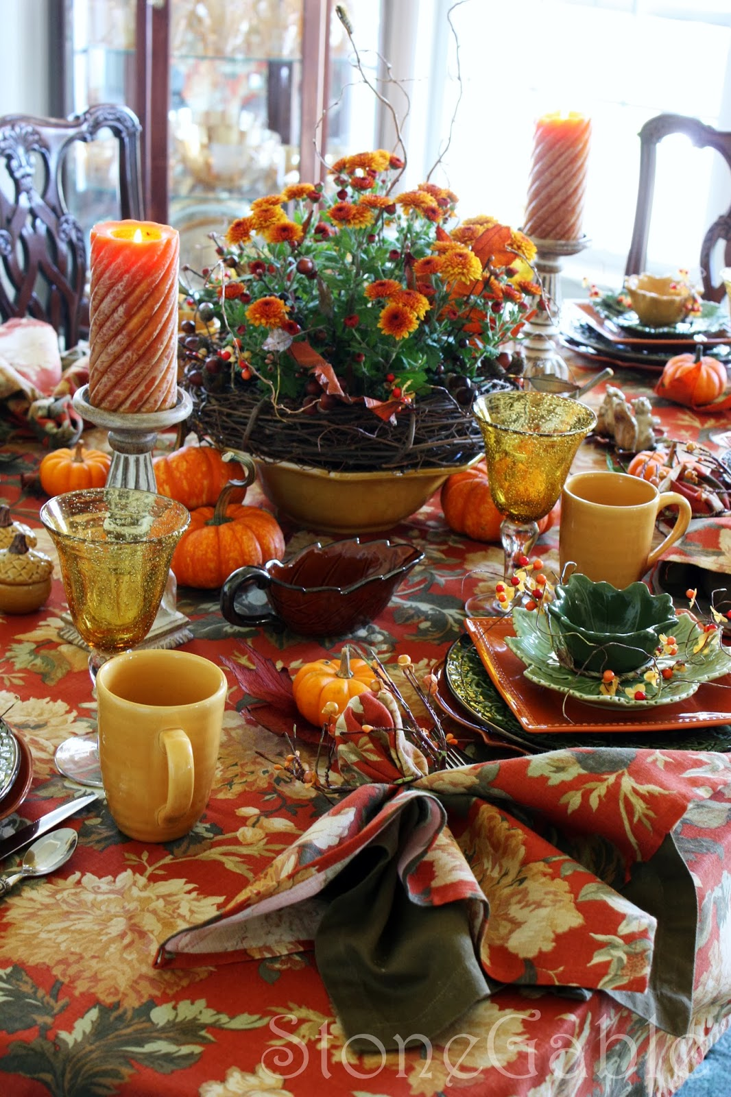 Fall brunch tablescape thanksgiving fall pinterest for Pictures of fall table decorations