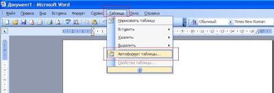 Открывем программу Microsoft Office-Microsoft Office Word и нажимаем автоформат таблицы