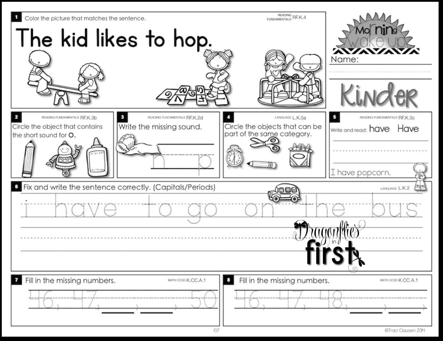 Free Printable Morning Worksheets : Kindergarten morning worksheets free printable